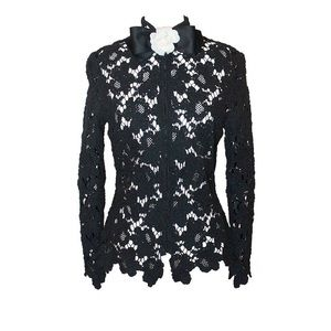 CHANEL | Black Lace Jacket with Camellia Bow Tie